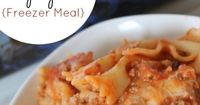 Baked Spaghetti Freezer Meal Recipe - This is a Kid Friendly Freezer Meal that you can make ahead of time. This Freezer Cookie Idea is one of our family favorites!