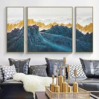 3 pieces Wall Art mountains Peaks Modern landscape birds Gold Art abstract Painting on canvas Blue Original Pictures cuadros abstractos $256.00