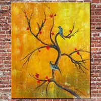 Birds And Blooms Modern Chinese Oil Painting Hand Painted
