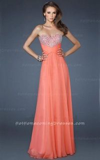 Hot Coral Chiffon Long Sequin Top Homecoming Dress On Sale