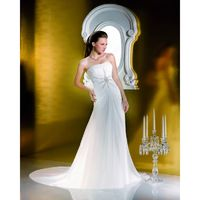 Simple A-line Sweetheart Beading Ruching Sweep/Brush Train Chiffon Wedding Dresses - Dressesular.com