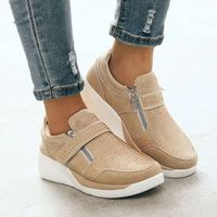 Casual Breathable Flock Slip-On Zippered Platform Women Sneakers Shoes,NEW,on Sale!