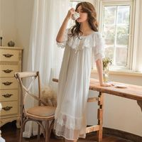Sweet Summer Cotton Women White Lace Long Nightgowns Pink Short Sleeve Retro Loose Sleepwear Home Wear $70.02