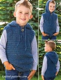 Children's hooded vest crochet pattern free - fit child's size 6; changes for sizes 8 and 10 are in [ ].