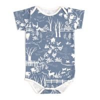 Short Sleeve Snapsuit - The Farm Next Door Slate Blue $44