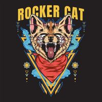 Rocker cat scream | Premium Vector.