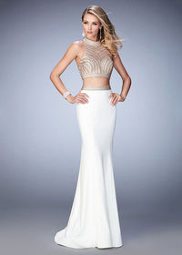Alluring Ivory Jersey Halter Style Two Piece Embellished Evening Dress