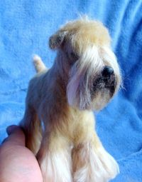 Soft Coated Wheaten Needle felt Handmade...I thought this was real !