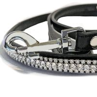 Fancy Dog Leash with Diamante Crystal Bling, Leather Dog Leash, 4 ft. lead $99.00