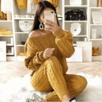 YJSFG HOUSE Womens Sweaters 2PCS Sets Jumpsuit Knitted Top Long Pants Ladies Winter Warm Suits Outfits Bodycon Casual Playsuit $69.68 zhif.myshopify.com