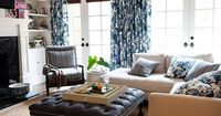 Pattern Play ----- �€œThe living room is the hub of the house,�€ says Lauren. For the space, she and Thomas channeled a beachy, Hamptons-meets-Malibu look by combining a small stripe with a large floral pattern in the same cool blue and r...