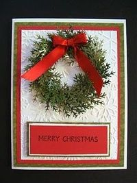 Christmas card idea with a Martha Stewart punch-- think I'd make the greeting more elaborate looking though