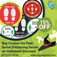 Buy Custom Six Feet Social Distancing Decals on 15% Halloween Discount