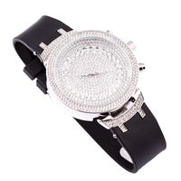 Silver Plated CZ Black Band Watch £89.70