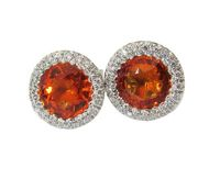 Vintage Orange Earrings Stud Earrings Circle Earrings Pave Diamonds Earrings Halo Earrings Art Deco Earrings Sapphires 14K white gold $1967.65