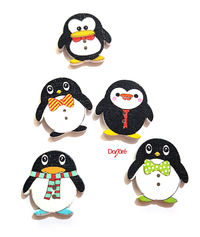 Pack of 100 Assorted Colours Wood Penguin Buttons. Wooden Clothing Accessory £7.69