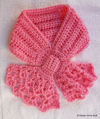 Free Crochet Pattern: PERFECT PINK SHELLS BOW SCARFLET,,,this one has a shells motif, I love the lacy look to it! Has a matching hat on next post. :)