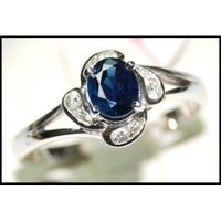 Solitaire Diamond Blue Sapphire Genuine 18K White Gold Ring [RS0105]