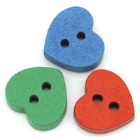 Pack of 100 Assorted Mix Wooden Heart Buttons. 11mm x 12mm £6.99