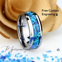 Crushed Blue Fire Opal Inlay 8mm Tungsten Wedding Band Men & Women, Black Ceramic Wedding Band For Men For Women, Opal Ring, Promise Gift $150.00