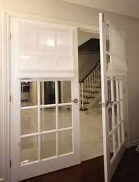 """Sheer Roman Shade """"White sheer linen"""" with chain mechanism, Faux sheer Linen Roman Shades, custom made roman shades for French doors $145.00"""
