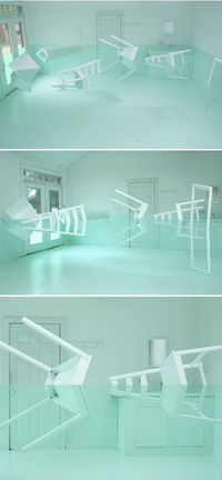 "Kyung Woo Han ~ ""Green House"" This installation is the perfect combination of surreal and serene. ""�€�with some old furniture, an empty room, the most lovely shade of green paint, and just a touch of optical illusion."" via The Je..."