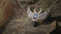 Pendant Crescent Moon with natural Moon stone. Option- Silver plated $104.00