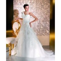 Nectarean A-line One Shoulder Beading Lace Hand Made Flowers Sweep/Brush Train Organza Wedding Dresses - Dressesular.com