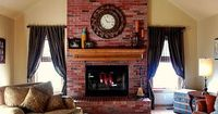 Have brick that you don't like? Try brick stain! This stained brick fireplace looks like it have always been there! And it is MUCH better than the before!