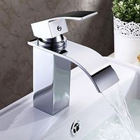 Chrome Finish Contemporary Waterfall Bathroom Sink Faucet