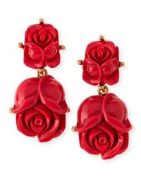 Oscar de la Renta Double-Rose Earrings ~ Cynthia Reccord�PM