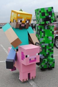 Minecraft! Super simple too all you need is cardboard and paint or colored paper.