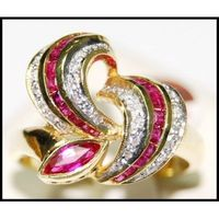 18K Yellow Gold Fancy Diamond and Ruby Ring [RF0006]