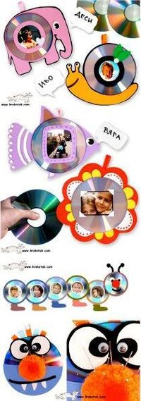 """Kids' Photo Frames �€"""" FROM OLD CDs good ideas for any of those parent gifts we are supposed to get the kids to make"""