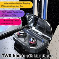 TWS Wireless bluetooth 5.0 Earphone Digital Display DSP Noise Cancelling 3000mAh Power Bank Bliateral Call Headphone