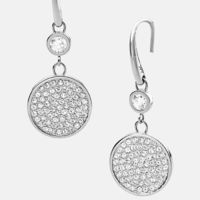 Cheap Michael Kors Silver-Tone Pave Crystal Disc Drop Earrings