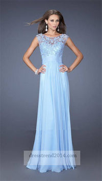 Cloud Blue Floral Lace High Neck Sheer Long Prom Dress