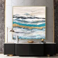 Modern abstract Canvas painting on canvas original Gold leaf art sea wave landscape acrylic heavy texture Wall pictures cuadros abstracto $109.00