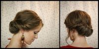 """Best tutorial on Gibson Tuck. Remember to twist hair back away from face before pulling into low pony and don't go all the way through hair when making """"nest."""""""