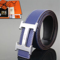 Hermes Constance Belt Logo Leather Palladium Hardware In Blue