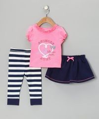 Take a look at this Navy 'Anchors' Skirt Set - Infant & Toddler by Vitamins Baby on #zulily today!