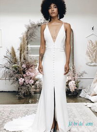 H0472 Sexy simply plunging slit mermaid boho wedding dress More Details:https://tinyurl.com/y32oul8g