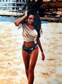 Buy Prints of Blame it on Ipanema(sold), a Oil on Canvas by Thomas Saliot from France. It portrays: Nude, relevant to: beach, bikini, yo, Rio, girl ney