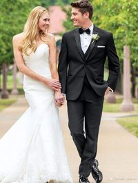 New Arrival Black Groom Tuxedos Two Buttons Men Wedding Suits Groomsmen Best Men Suits Custom Made Jacket+Vest+Pants Mens Suits Suits Black On White Tux From Amscan, $68.75| Dhgate.Com