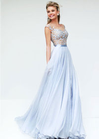 Flowy Chiffon Sheer Cap Sleeves V Back Silver Nude Prom Dress