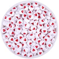 Pack of 500 Red & White Round Acrylic Heart Beads. 7mm x 3mm Plastic Spacers. £8.99