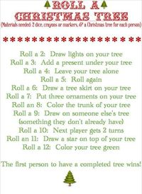 Roll a Christmas Tree (Dice Game & Printable) form Blissful Roots