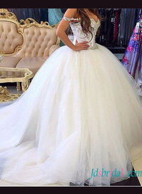 Beautiful full princess tulle ball gown wedding dress