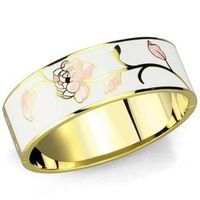 Gold White Metal Bangle with Epoxy in White  Category: Bangle  Material: White Metal  Finish: Gold  Center Stone Type: Epoxy  Center Stone Color: White