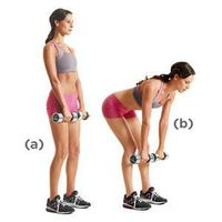 Grab a pair of dumbbells with an overhand grip, and hold them at arm's length in front of your thighs. Stand with your feet hip-width apart and your knees sligh